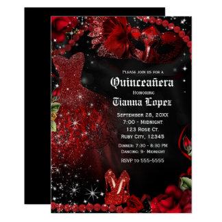 Carte Partie de Quinceañera 15 de mascarade de robe de