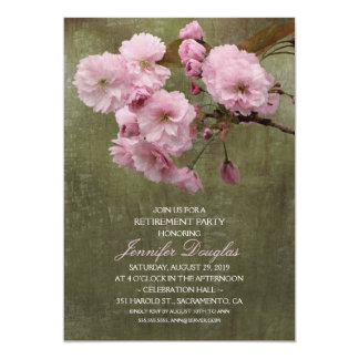Carte Partie de retraite florale de fleurs de cerisier