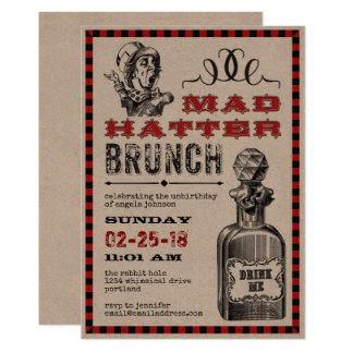 Carte Partie folle de brunch de chapelier