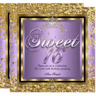 Carte Partie pourpre lilas d'or de princesse Sweet 16