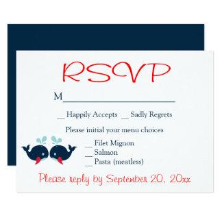 Carte Partie rouge de plage de mariage de RSVP de marine