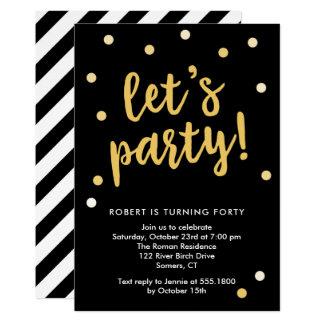 Carte Party les confettis, le noir et l'invitation d'or