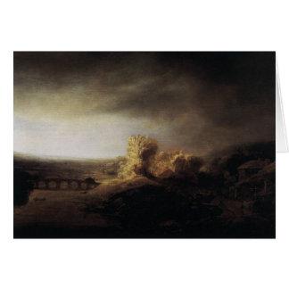 Carte Paysage de peinture d'art de Rembrandt