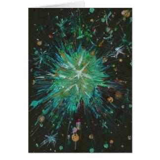 Carte Peinture acrylique d'étoile verte d'art abstrait