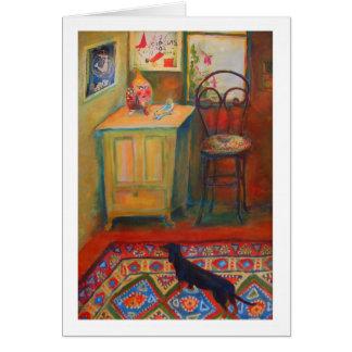 Carte Peinture acrylique d'un chien de teckel dans un