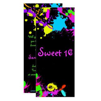 Carte Peinture au néon, sweet sixteen, bat mitzvah,
