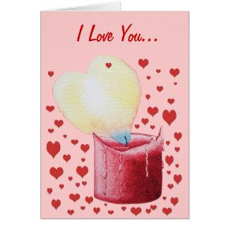 Carte peinture en forme de coeur rouge d'art de bougie