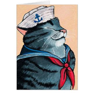 Carte Peinture nautique de chat tigré de chat de marin