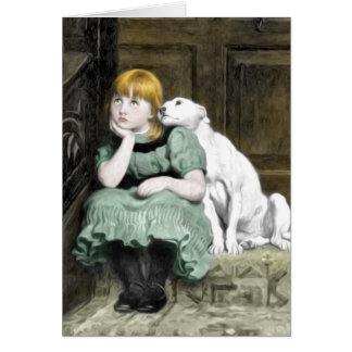 Carte Peinture victorienne de fille pleine d'adoration