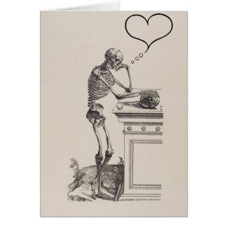 Carte Pensées de squelette d'amour