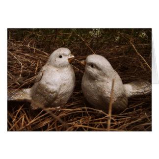Carte Pensées douces de vous, deux oiseaux dans un nid,