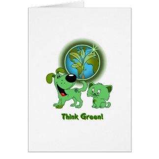 Carte Pensez le vert ! (Feuille et lame)