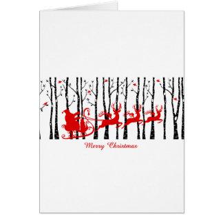 Carte Père Noël dans la forêt d'arbre de bouleau