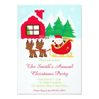 Carte Père Noël et fête de vacances de Noël d'elfes