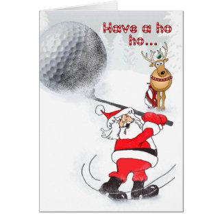 Carte Père Noël et jouer au golf d'ami de renne