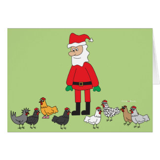 Carte Père Noël et poulets