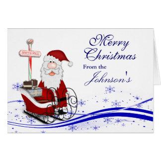 Carte Père Noël et son Noël de Sleigh