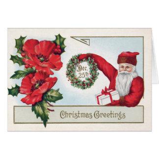 Carte Père Noël houx guirlande poinsettia présent 25