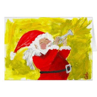 Carte Père Noël jouant la trompette !