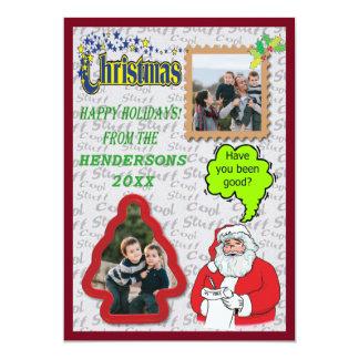 Carte Père Noël saluant l'arbre et le carré ajoutent la