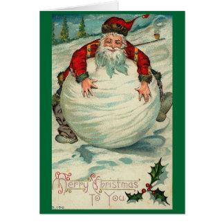 Carte Père Noël Snowball vintage