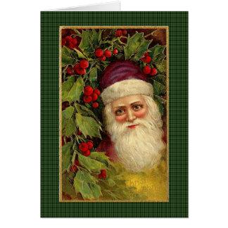 Carte Père Noël victorien sur le plaid