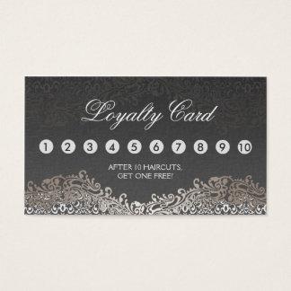 Carte perforée de fidélité - damassé argentée