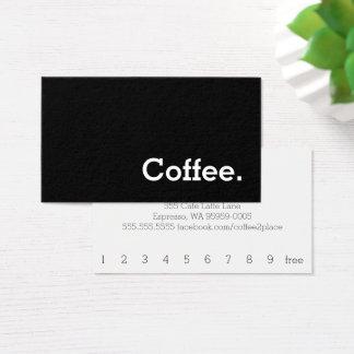 Cartes De Visite Carte perforée foncée de café de fidélité de mot