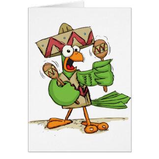 Carte Perroquet avec des maracas