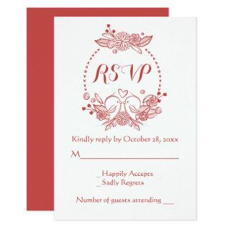 Carte Perruches florales de Bourgogne RSVP épousant la