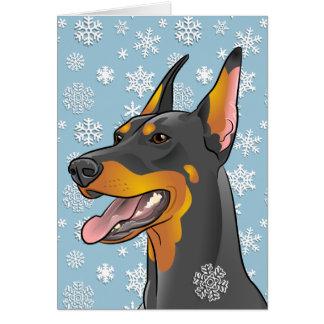 Carte personnalisable de chien de dobermann de