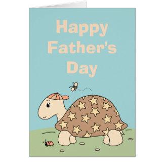 Carte personnalisable de fête des pères de tortue