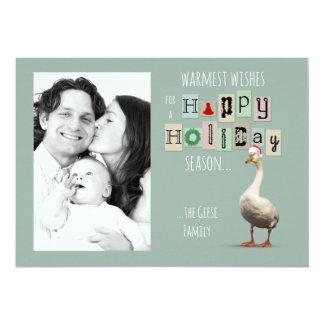 Carte personnalisable de vacances d'oie de Noël