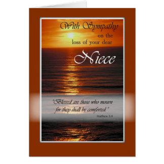 Carte Perte de sympathie de nièce, coucher du soleil
