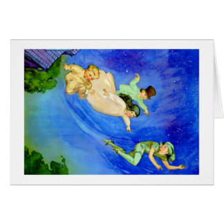 CARTE PETER PAN, WENDY, JOHN ET MICHAEL VOLENT LOIN