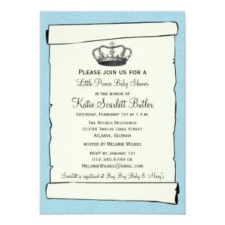 Carte Petit baby shower bleu de prince Vintage
