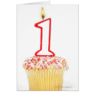 Carte Petit gâteau avec une bougie numérotée 10