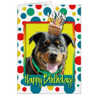 Carte Petit gâteau d'anniversaire - rottweiler -