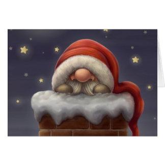 Carte Petit Père Noël dans une cheminée