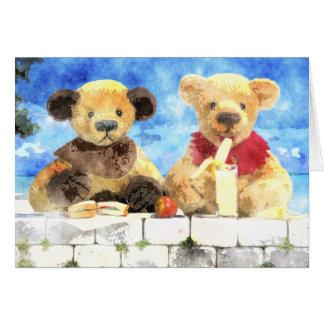 Carte Petite aquarelle d'ours - ayez une coupure