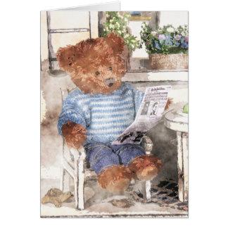 Carte Petite aquarelle d'ours - ours de lecture