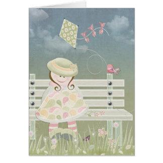 Carte petite fille avec le cerf-volant