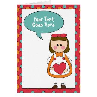 Carte petite fille avec un coeur