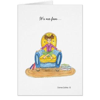 Carte Petite fille dans la chaise bleue vous manquant