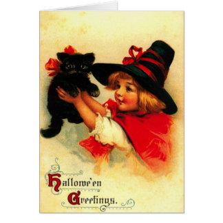 Carte Petite fille et son chat noir
