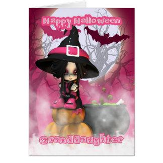 Carte Petite-fille Halloween avec la sorcière de Girlie