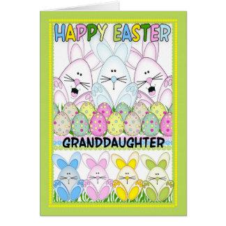 Carte Petite-fille Pâques avec des lapins et des oeufs