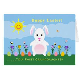 Carte Petite-fille Pâques de houblon - lapin de Pâques