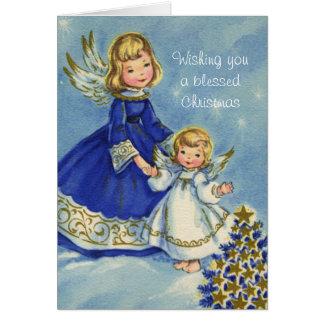 Carte Petits anges dans bleu et blanc