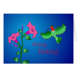 Carte Pétunia de joyeux anniversaire avec le colibri